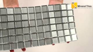 Glass Mosaic Tile Backsplash Silver 1x1 - 101CHIGLABR105