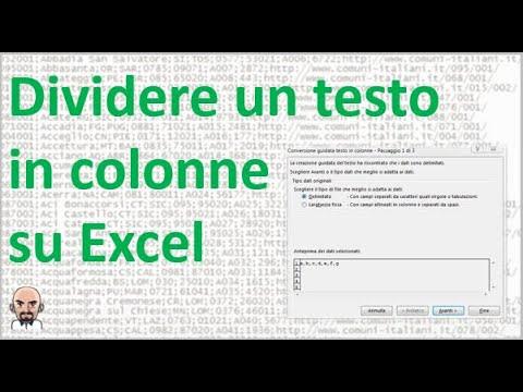 Come dividere un testo in colonne su Excel