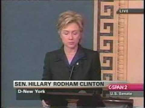 Hillary Clinton Iraq War Full Speech 10/10/02 Part 1