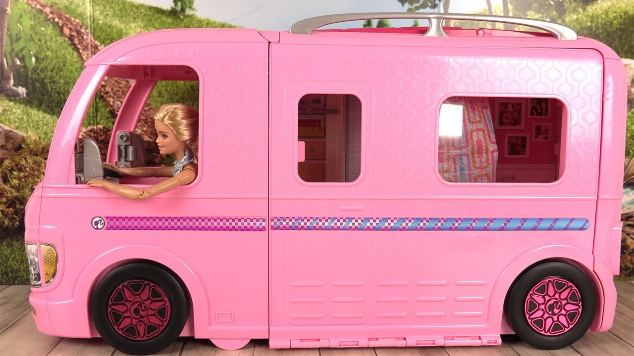 barbie camping car transformable histoires de poup es barbie rv camper van youtube. Black Bedroom Furniture Sets. Home Design Ideas
