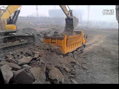 รถตักดิน sany ขนหินใส่รถ บรรทุกสิบล้อ