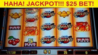 Quick Hit Platinum Slot $25 Max Bet *JACKPOT HANDPAY* High Limit Bonus!