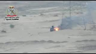 هكذا تحترق اليات الحوثيين في صحراء مارب