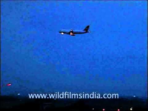 Indian Airlines Airbus night landing at IGI Airport, Delhi