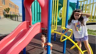 Zack and Heidi playing Hide and Seek at the Playground with Mommy