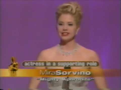 Mira Sorvino winning Best Supporting Actress for Mighty Aphrodite