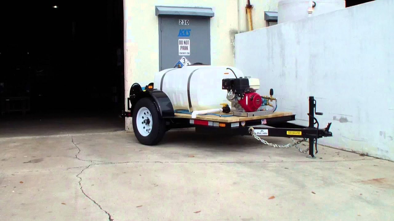 Honda 4000 PSI @ 4 GPM Cold water pressure washer trailer  City of Sunny  Isles Florida Dan Swede