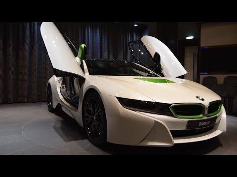BMW i8 in White & Java Green showed at BMW's Abu Dhabi dealership