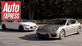 Tesla Model S P85D vs Porsche Panamera Turbo S drag race