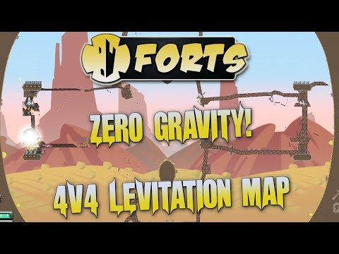 Forts Multiplayer 4v4 Gameplay Levitation Map, No Gravity, Breaking The Game