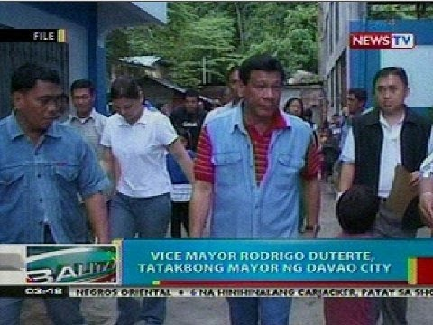 BP: Vice Mayor Rodrigo Duterte, tatakbong mayor ng Davao City