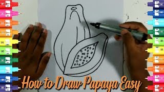 How to draw a papaya step by step-Easy Kids Drawing Tutorial
