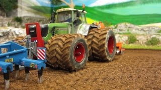 RC TRACTOR at hard field work -siku rc toys in action