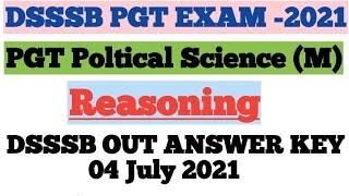 DSSSB PGT Political Science Paper solution  Reasoning Solution Dsssb online paper Solution