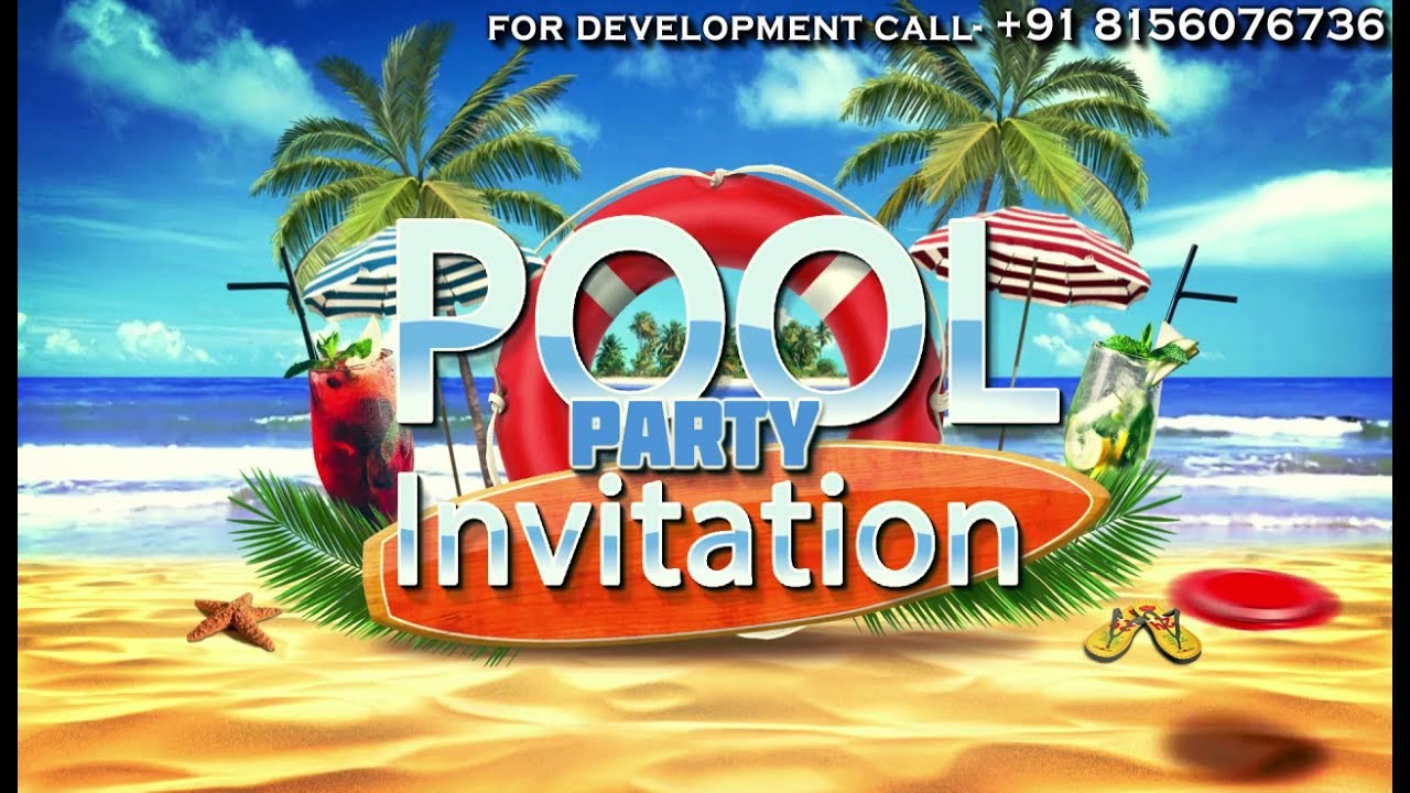 Animated Pool or Beach Party Invitation Video | Rs.999 only - YouTube