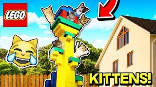 WORLD'S BIGGEST GIANT LEGO TREE HOUSE For CATS! Can The Kitten ESCAPE? 😻📦🏠 (With LITTLE SISTER)