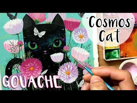 COSMOS Cat // Gouache Painting // Bao Pham