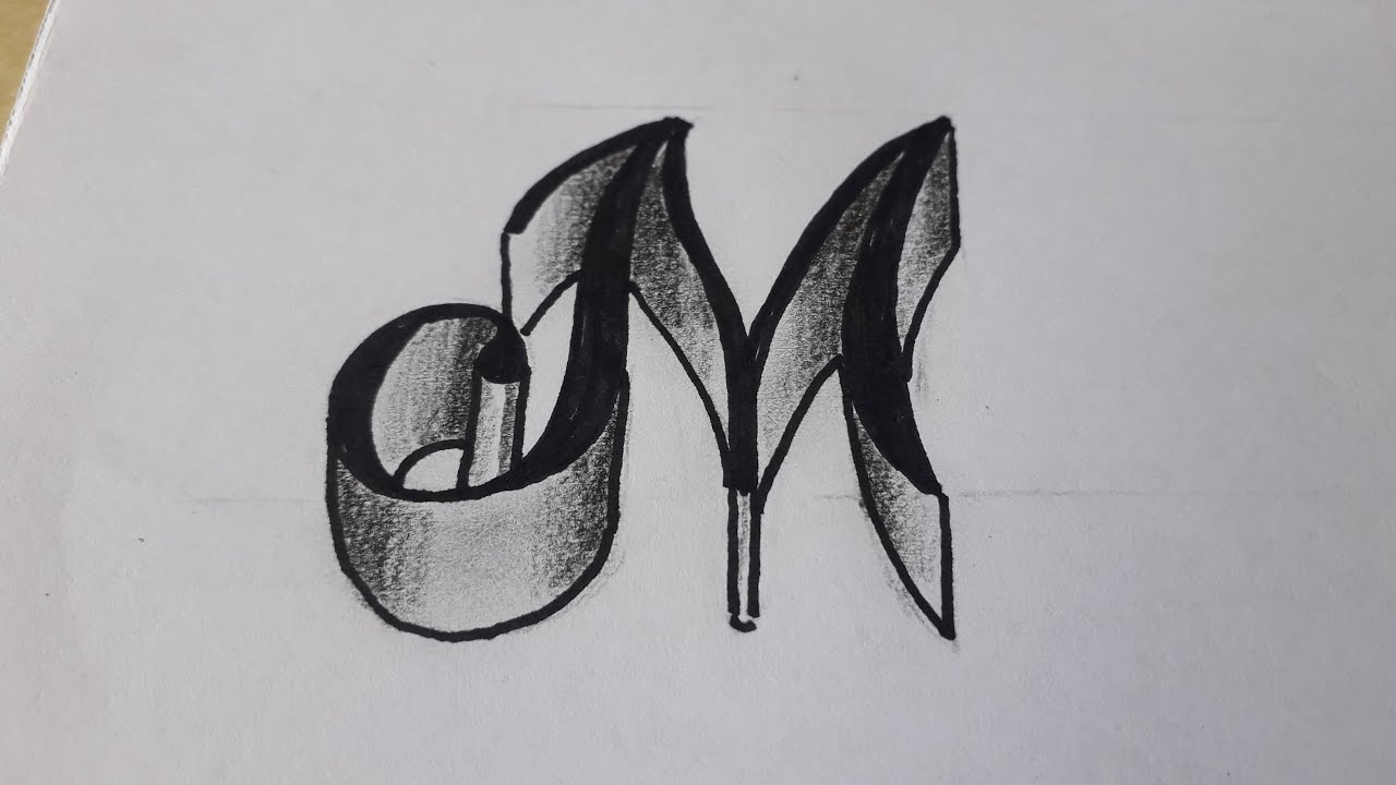 How To Write 18d Letter M On Paper / Easy Drawing Art