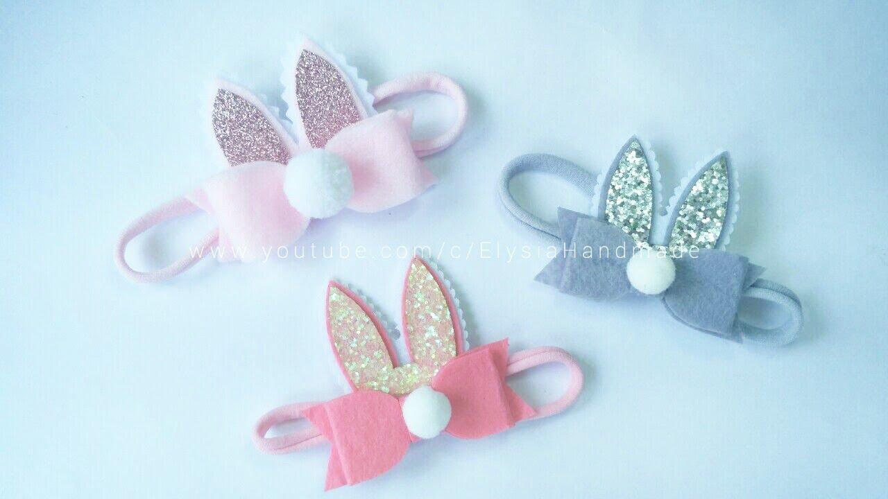 Baby Headband Ideas   Bunny Ear Headband With Bowtie Flannel  75505f17e26