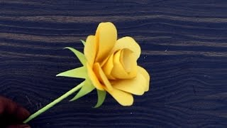 How to Make Origami Paper Yellow Rose | DIY Paper Crafts for Christmas Gift Ideas