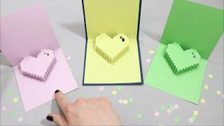 Vero Vi ❤️ POP UP CARD/ PIXELS/CORAZON/HEART