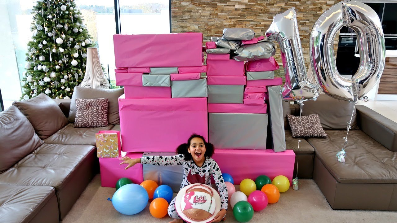 Tiana S 10th Birthday Party Opening Presents Giant Lol