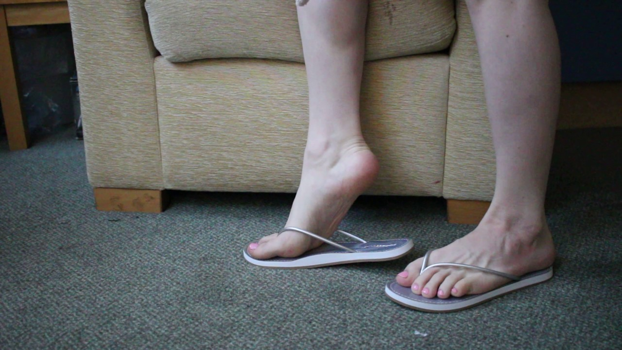 Pale Pink On White Toes In New Silver Flip Flops Cd Feet