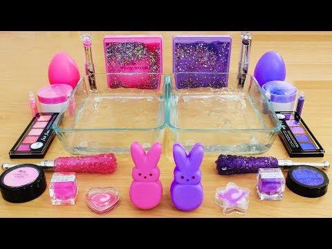 Pink vs Purple - Mixing Makeup Eyeshadow Into Slime! Special Series 62 Satisfying Slime Video