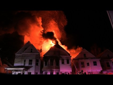 Paterson NJ Fire Department 4th Alarm Heavy Fire in 3 Structures 195 N 4th St 11-17-2015