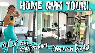 MY HOME GYM TOUR, all of my equipment, amazon finds, plus a workout!