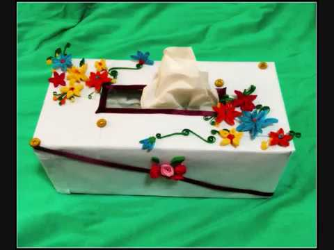 How To Make A Decorative Paper Tissue Box Cover By Using Old Tissue Box