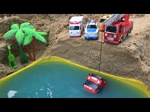 Thumbnail: Gani Tayo Bus falls into the water! Fire Truck, Ambulance, Police Car rescue Tayo Bus toys play