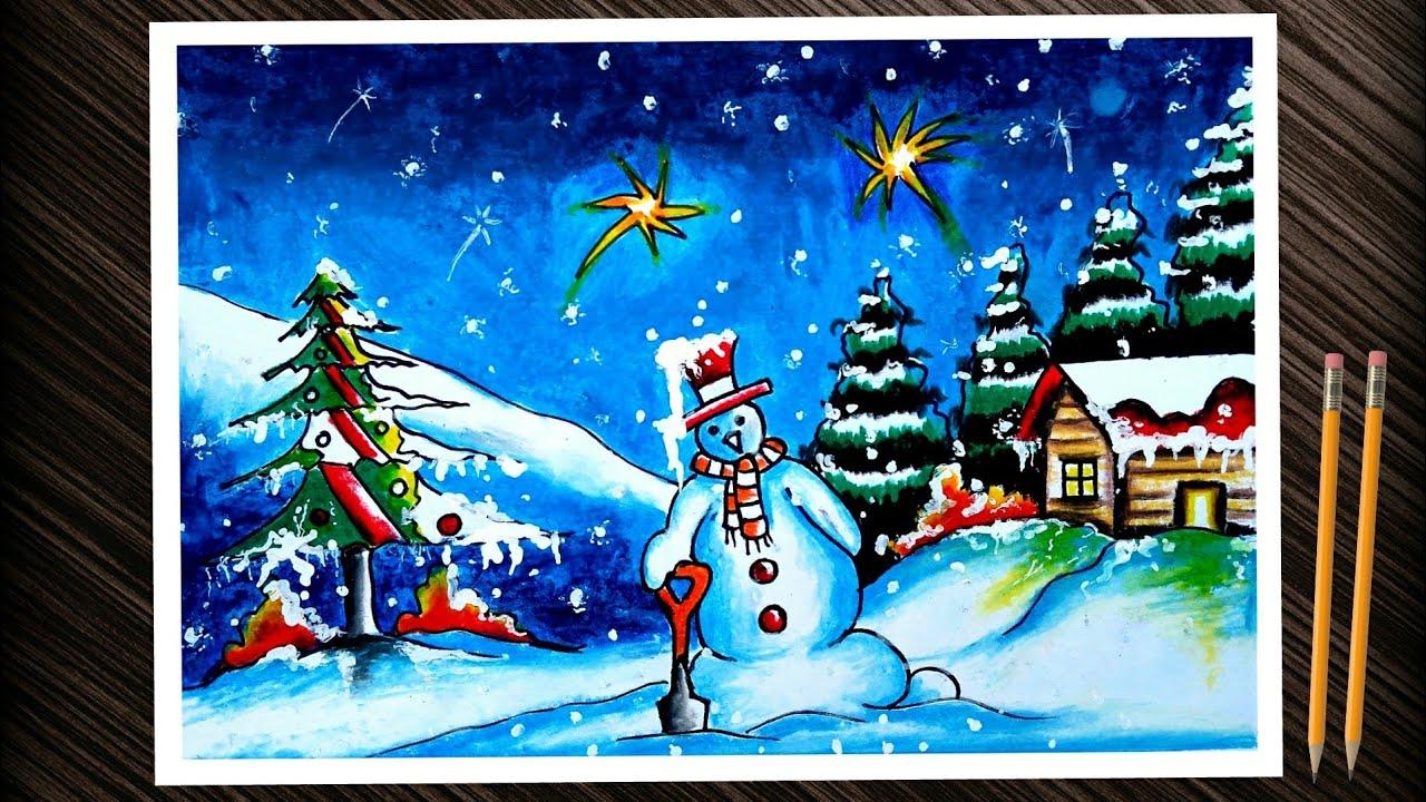 easy Christmas day drawing. Christmas day chart/ poster drawing. Christmas day scenery drawing.