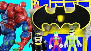 Spiderhulk Spider-man Battle + Batman Imaginext Gotham City Tower ! Superhero Toys