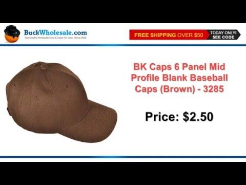 BK CAPS 6 PANEL MID PROFILE BLANK BASEBALL CAPS (BROWN) - 3285