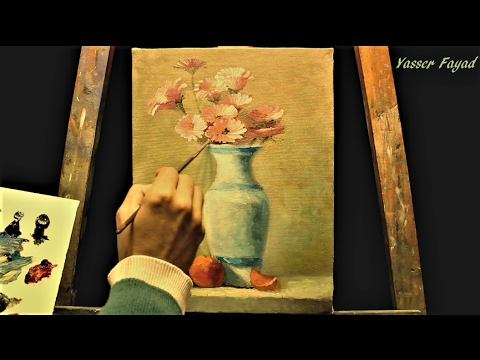 Oil Painting Still Life Vase With Flowers by Yer Fayad - YouTube on