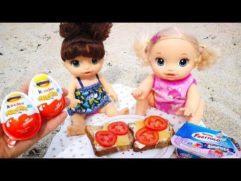 #Куклы Пупсики ЗАВТРАК НА МОРЕ Открываем Яйца Киндер Джой Сюрпризы Игрушки  Для детей
