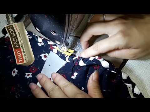 Cách may cổ áo váy với dây tết đuôi sam | Thời Trang Thủy | Sewing neckline