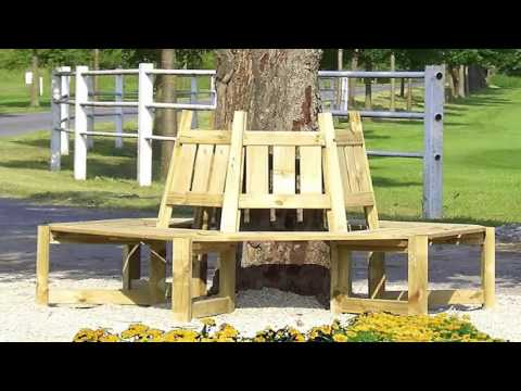 baumbank aus paletten bauen oder kaufen holz baumbank f r sch nen garten youtube. Black Bedroom Furniture Sets. Home Design Ideas