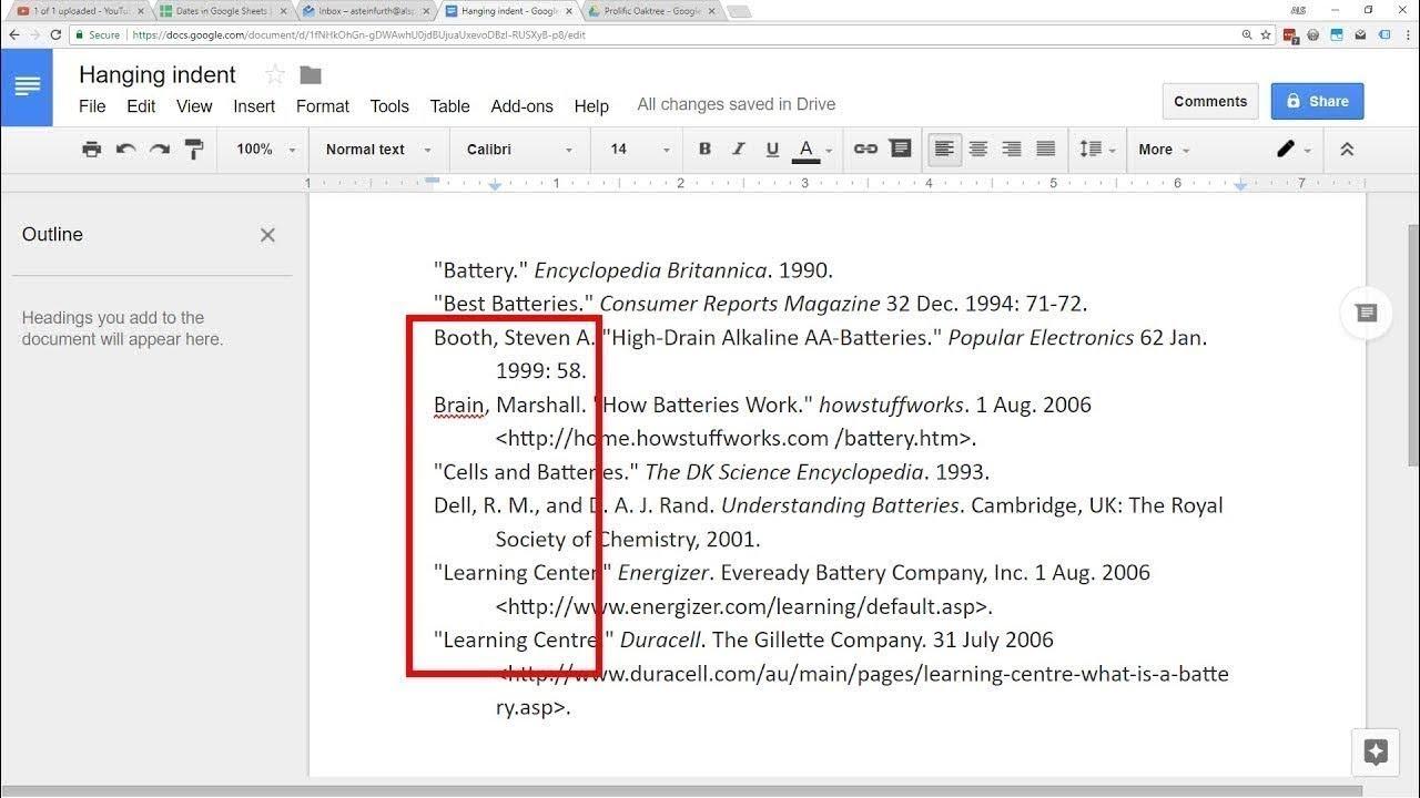 Google Docs Apa Or Mla Hanging Indent Works Cited With