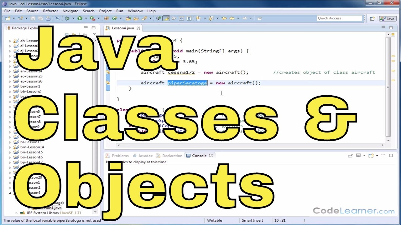 Java Programming Tutorial 04 Defining A Class And Creating