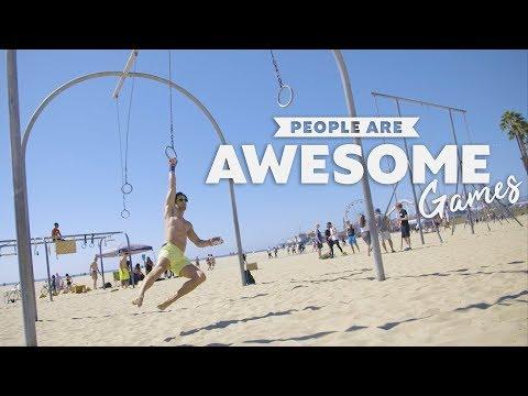 People Are Awesome Games | Original Muscle Beach (Ninja Warrior, AcroYoga, Slacklining)