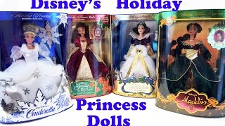 Disney Holiday Princess Dolls Collection - Cinderella, Belle, Snow White, Jasmine
