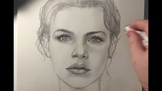 HOW TO DRAW a face starting by drawing only ONE EYE.