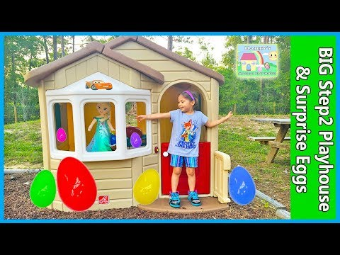 Mega Giant Surprise Box Step2 Playhouse Egg Hunt for Huge Surprise Eggs & Opening Frozen Toys Review