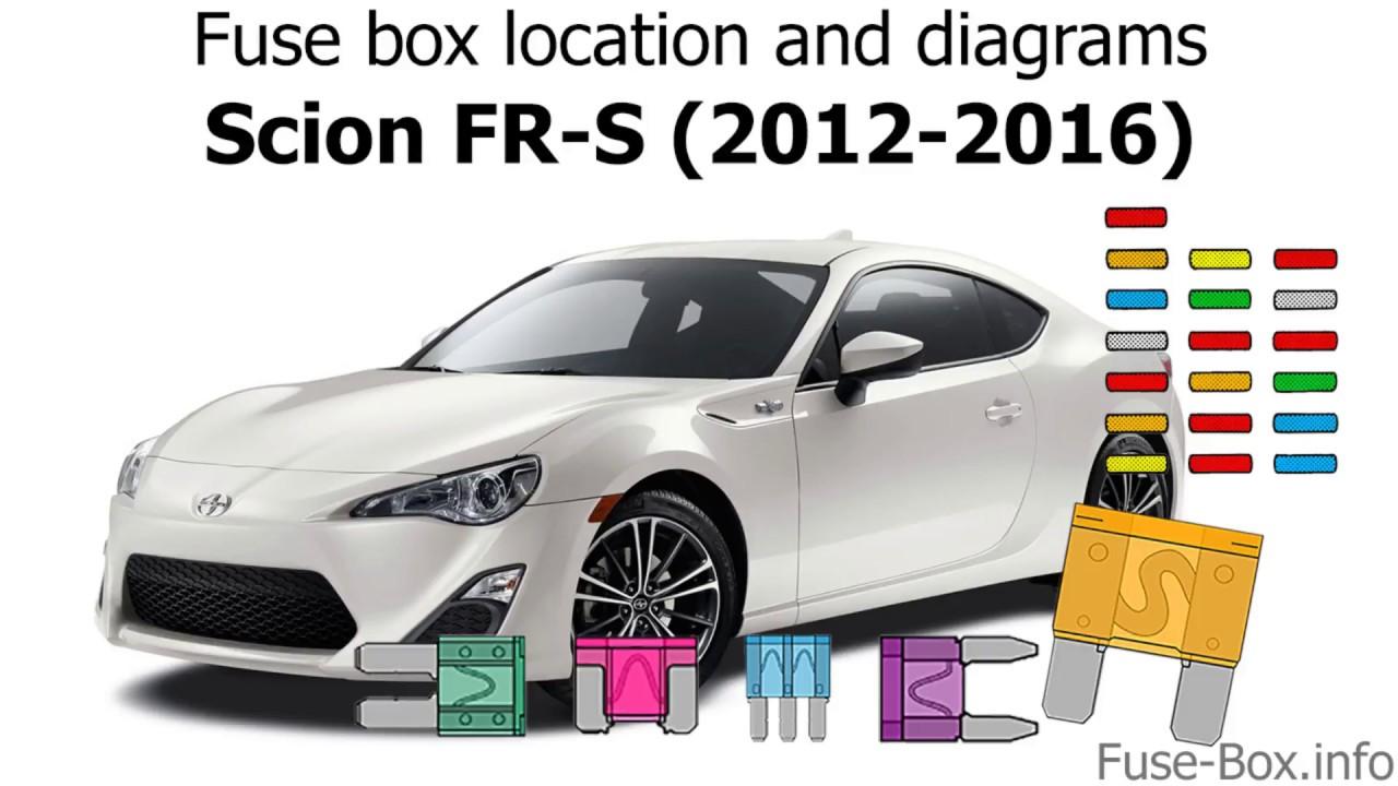 medium resolution of fuse box location and diagrams scion fr s 2012 2016
