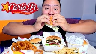 carls jr mukbang jalepeno double cheese burger onion rings