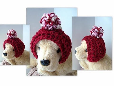 Crochet Pattern For Dog Hat With Ear Holes : DOGGIE HAT, How to crochet a dog hoodie hat, headband ...