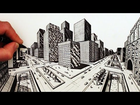 wn how to draw a city using two point perspective