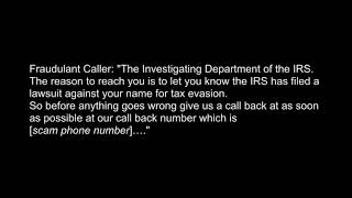 Phone Phishing: hear an actual IRS Impostor Scam call